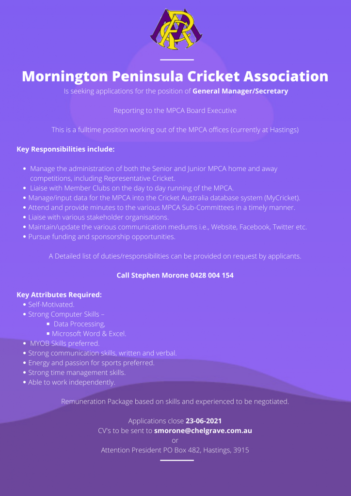 MPCA General Manager advert